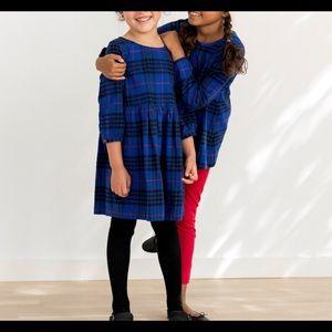 Hanna Andersson Blue Festive Flannel Plaid Dress